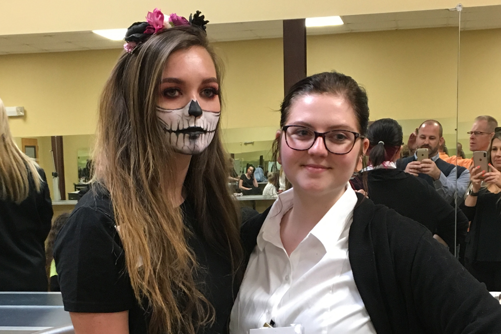 Haley Efird (right) and model, Memory Allen, 3rd place Esthetics competition