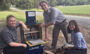 PTK Lending Library with students
