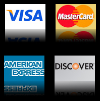 Visa, MasterCard, American Express, Discover Accepted
